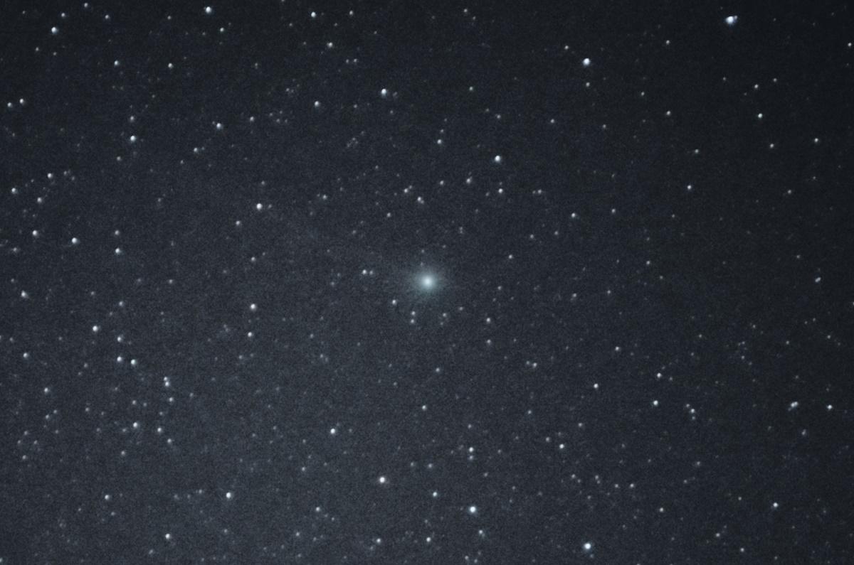 Cometa C/2014 Q2 (Lovejoy), 27dez2014 ~23:00 h. (DST), Stack 65 fotos, 55mm, 6400 ISO, 4 seg., f 5.6.